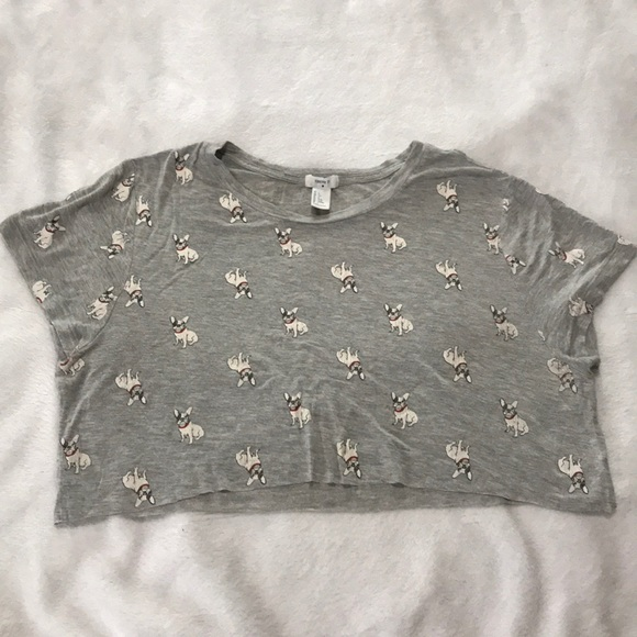 Forever 21 Tops - Large Cropped Grey French Bulldog Tee Forever 21